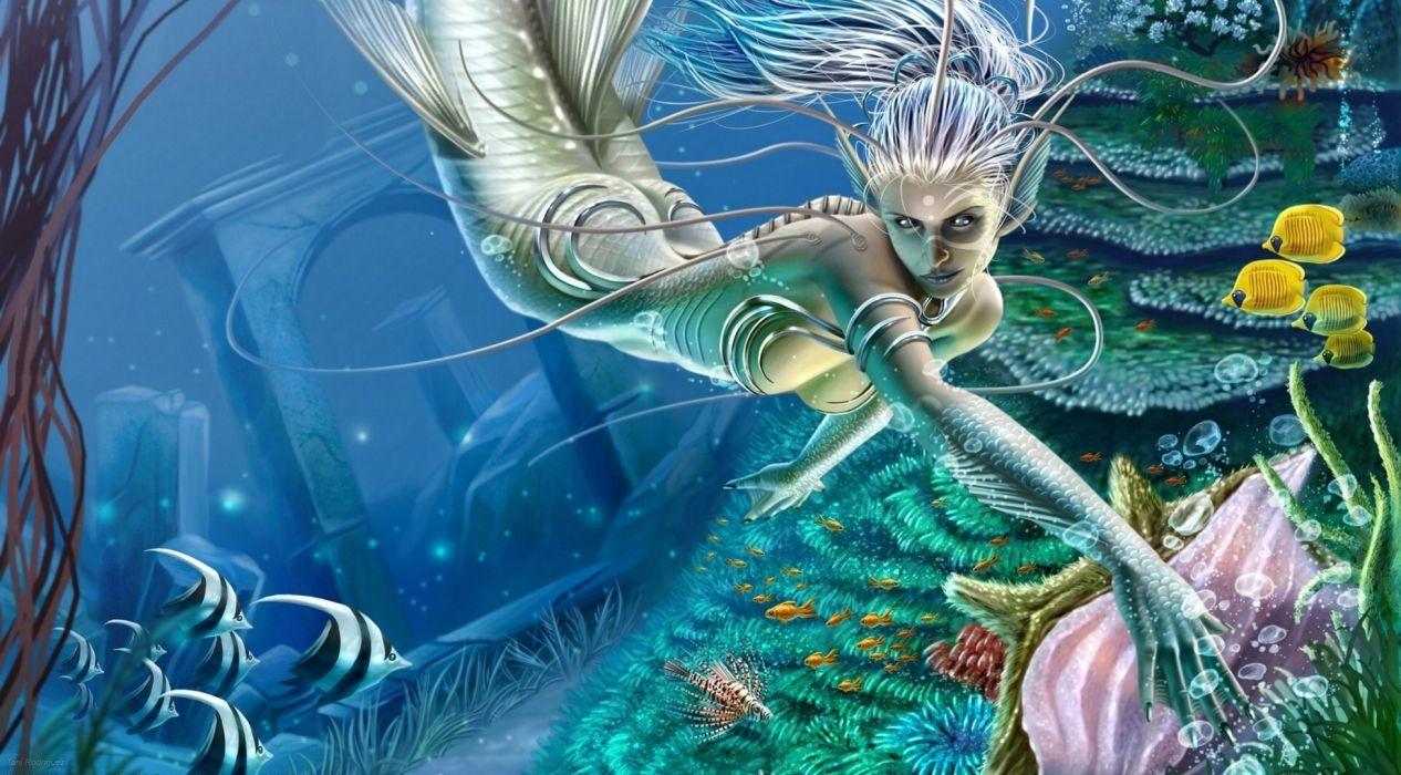 Mermaid Underwater world Fish Fantasy wallpaper