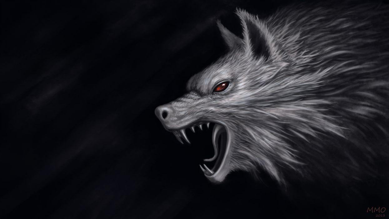 Monsters Wolves Head Fantasy wolf dark wallpaper