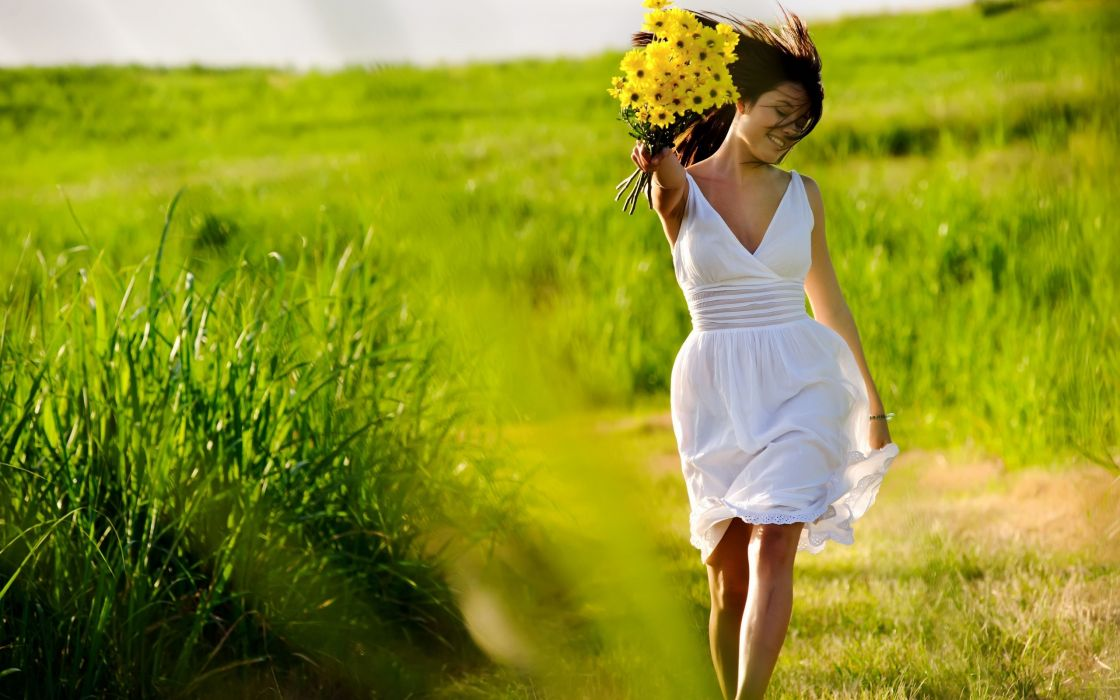 mood smile flowers brunette wallpaper