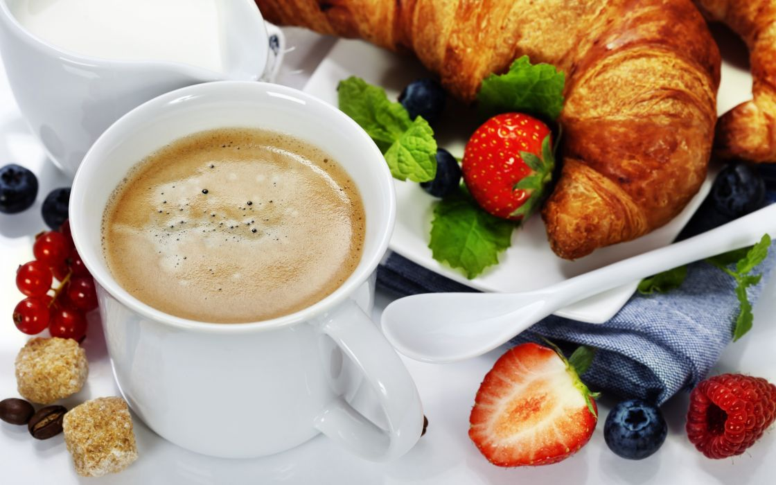 napkin  croissants  strawberries  crackers  cup  coffee  foam wallpaper