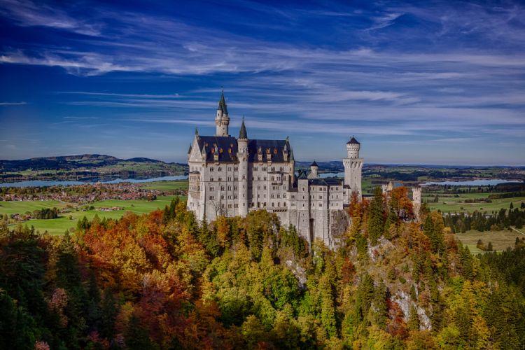 Neuschwanstein Castle Bavaria Germany rock forest autumn castle landscape wallpaper