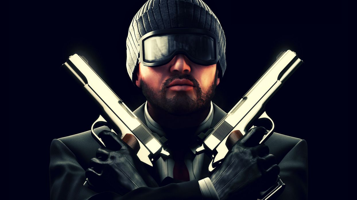 Point Blank Pistol Men Winter hat Beard Glasses Games weapon gun dark wallpaper