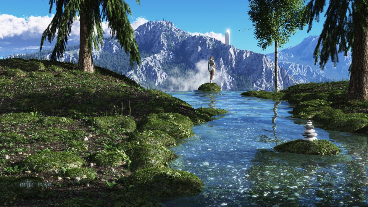 Rivers Mountains Fantastic World Grass D Graphics Nature Fantasy - Rivers and mountains of the world