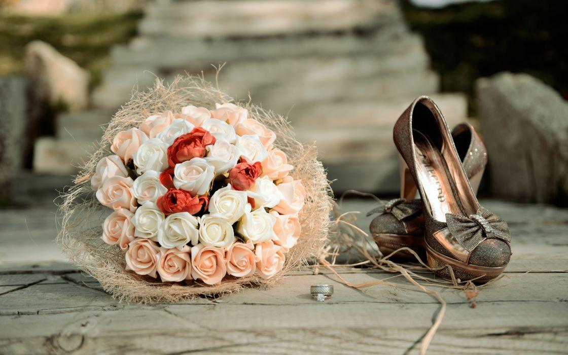 roses flowers wedding shoes bouquet wallpaper