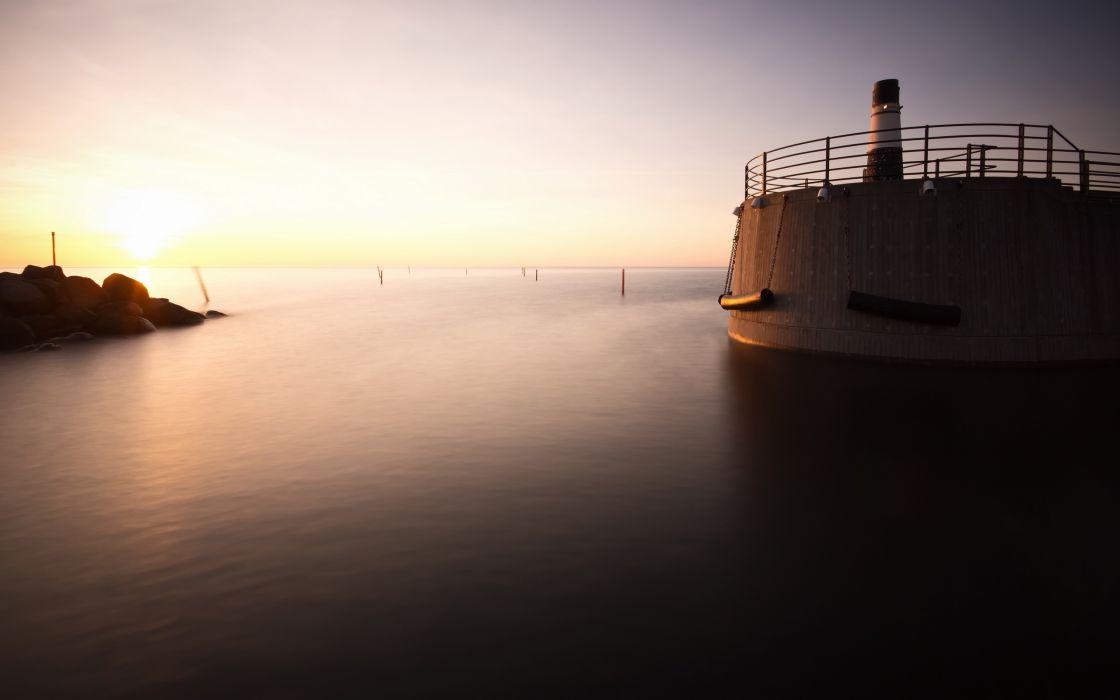 sea aeYaeY sunset  landscape lighthouse wallpaper
