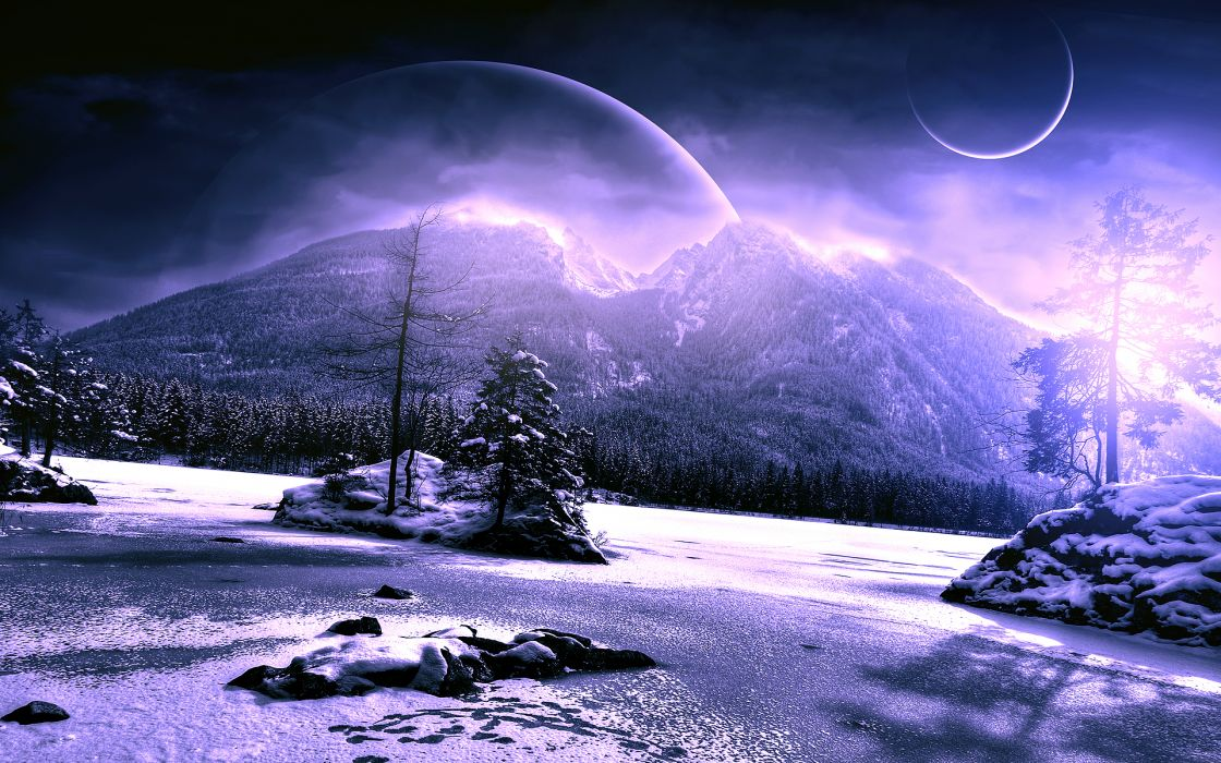 Scenery Winter Planet Mountains Snow Nature Fantasy mood wallpaper