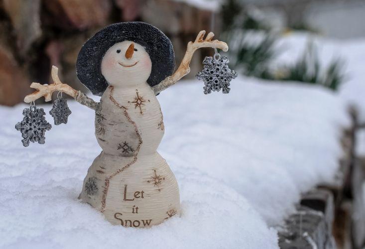 snowman snowflakes snow mood wallpaper