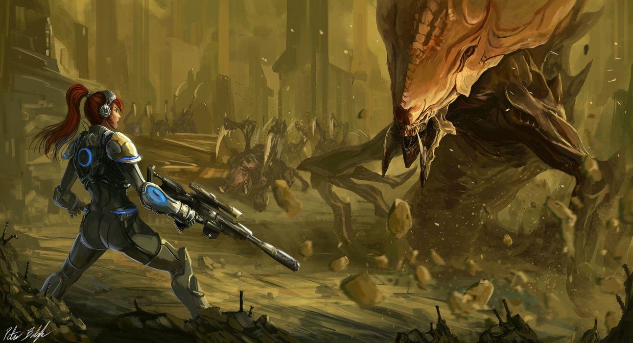 StarCraft Monsters Warrior Rifles Sniper rifle Armor Games Girls sci-fi wallpaper
