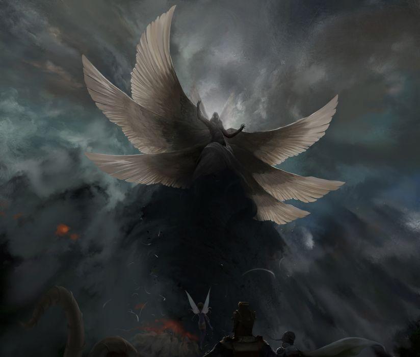 Supernatural beings Wings angel demon dark wallpaper