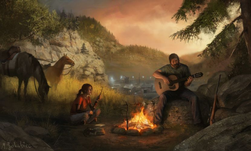 The Last of Us Fire Men Horses Guitar Games Girls apocalyptic fantasy wallpaper