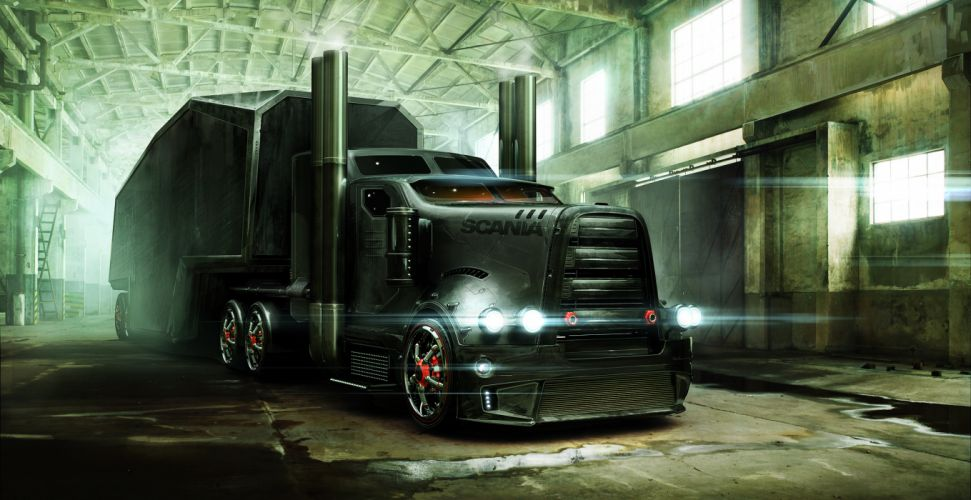 Trucks Scania Cars sci-fi semi tractor tuning wallpaper