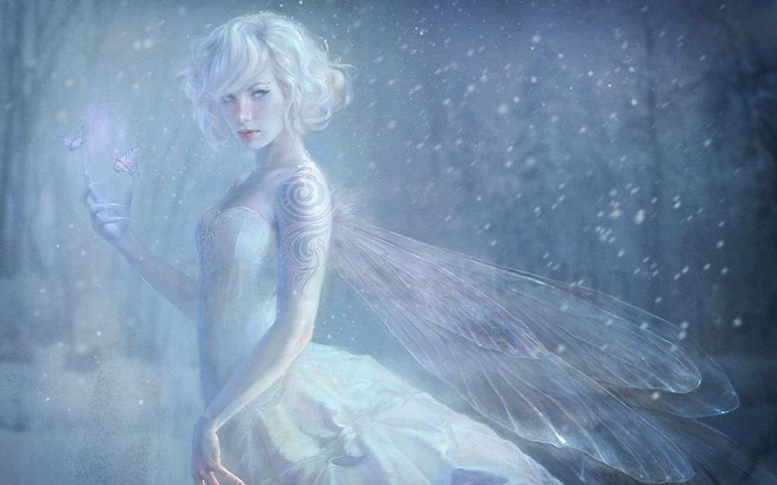 wings snow fairy girl nails tattoos wallpaper