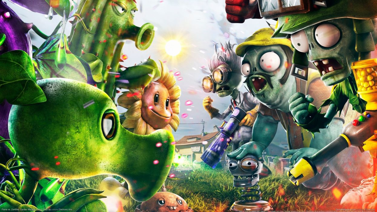 Zombie Sunflowers Plants vs Zombies Games 3D Graphics Fantasy sci-fi wallpaper