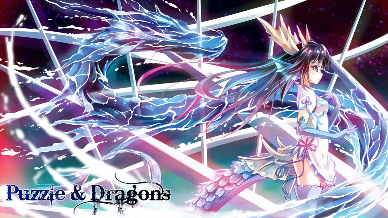 puzzle & dragons arms ai black hair blue eyes dragon karin wallpaper