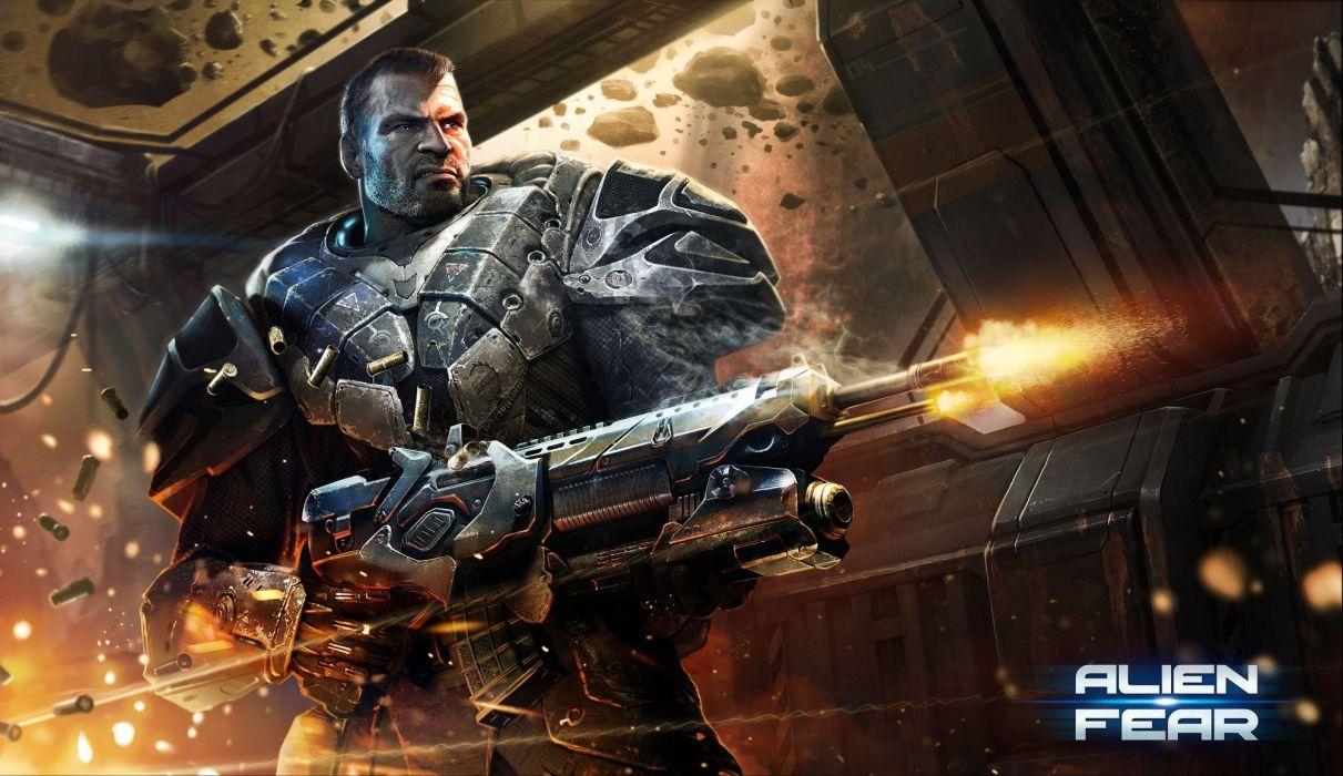 ALIEN RAGE sci-fi warrior weapon         r wallpaper