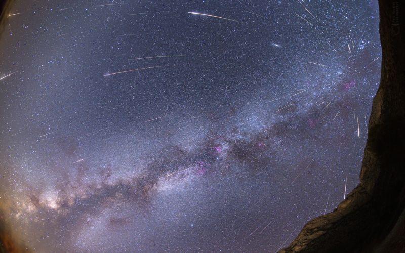 Asteroids Stars Galaxy Milky Way Timelapse Fisheye wallpaper