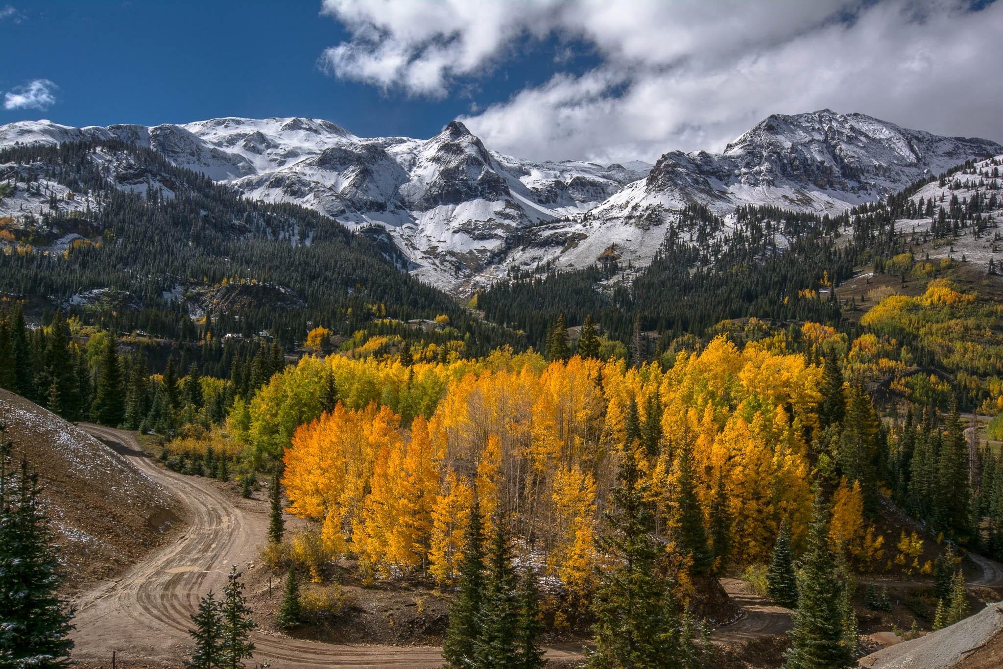 Autumn mountain road trees landscape d wallpaper ...