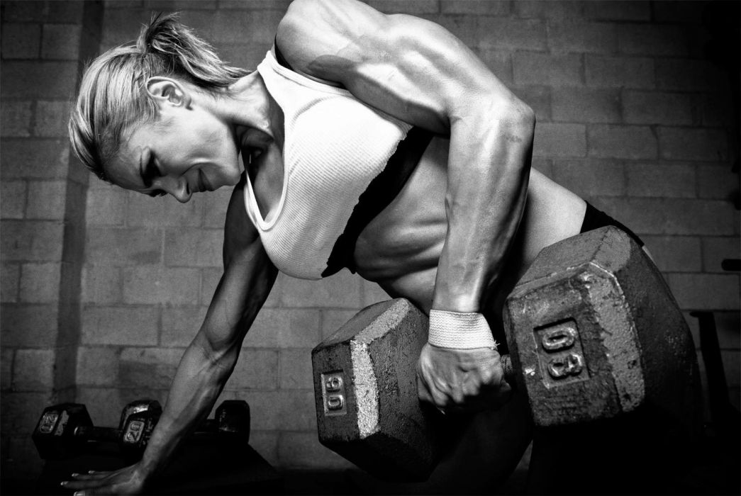Blonde Exercise Weights Muscle B-W wallpaper