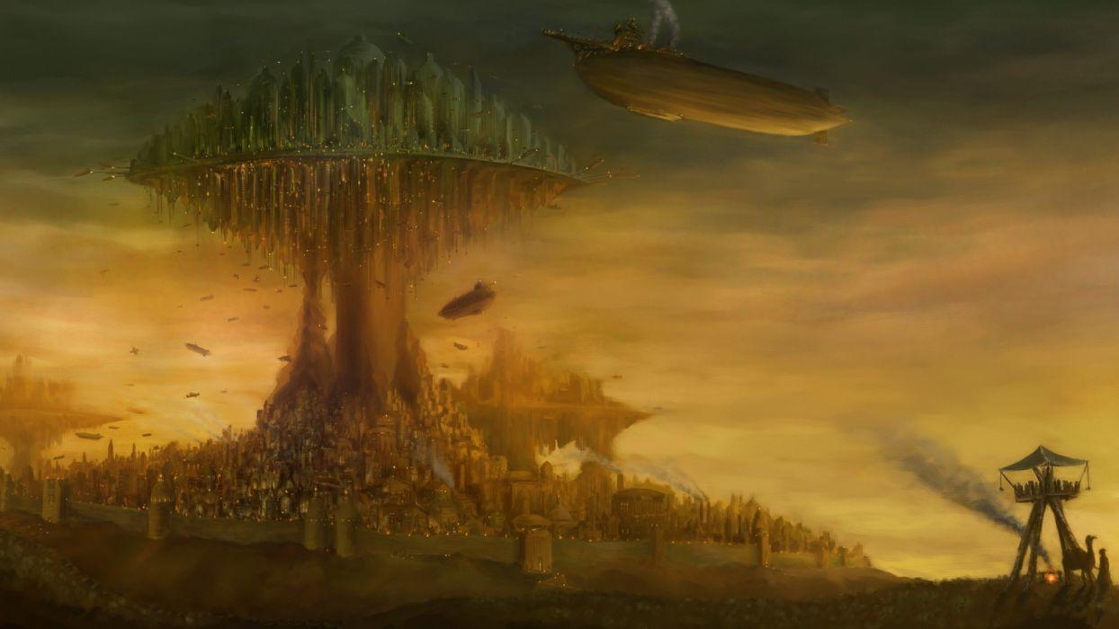 City Blimp Drawing steampunk fantasy wallpaper