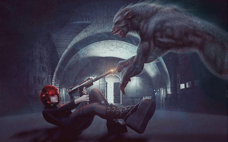 girl gun wolf werewolf battle sci-fi gothic warrior wallpaper