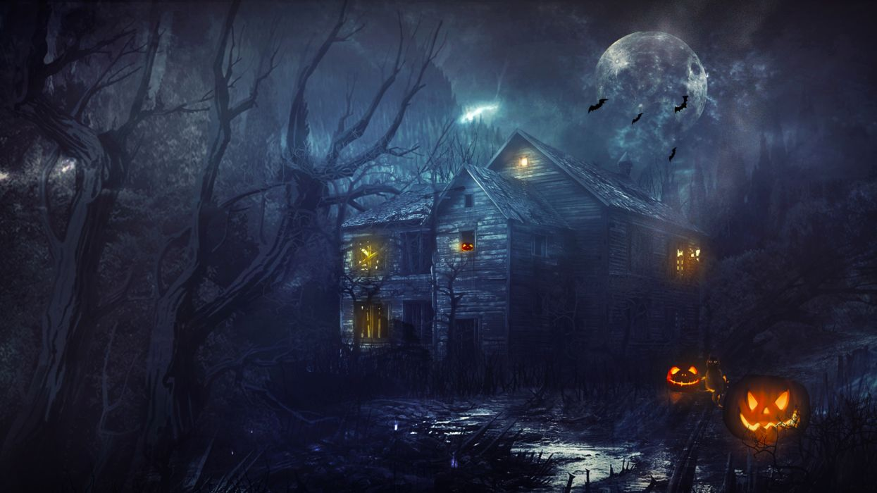 Halloween House Night Moon Pumpkin wallpaper