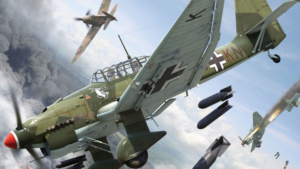 Junkers Ju-87 Piece laptezhnik Lapotnikov Sturzkampfflugzeug dive bomber attack Supermarine Spitfire dogfight bombs smoke fire military    d wallpaper