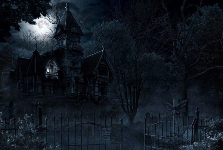 Mansion Creepy Halloween Gate dark horror wallpaper