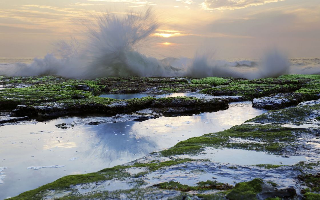 Ocean Rocks Stones Splash Sunset waves g wallpaper