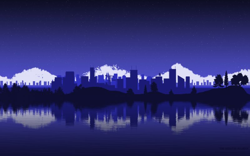 Purple Buildings Skyscrapers Reflection wallpaper