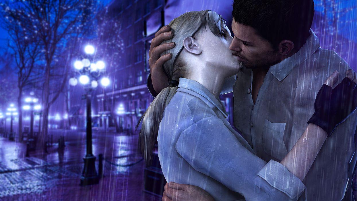 Resident Evil  fanart  Jill Valentine  Chris Redfield  rain  kiss  rain  kiss mood wallpaper