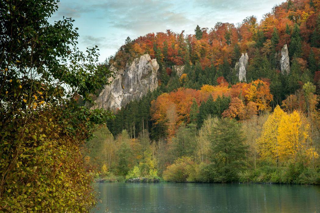 Rivers Germany Autumn Bavaria Nature wallpaper