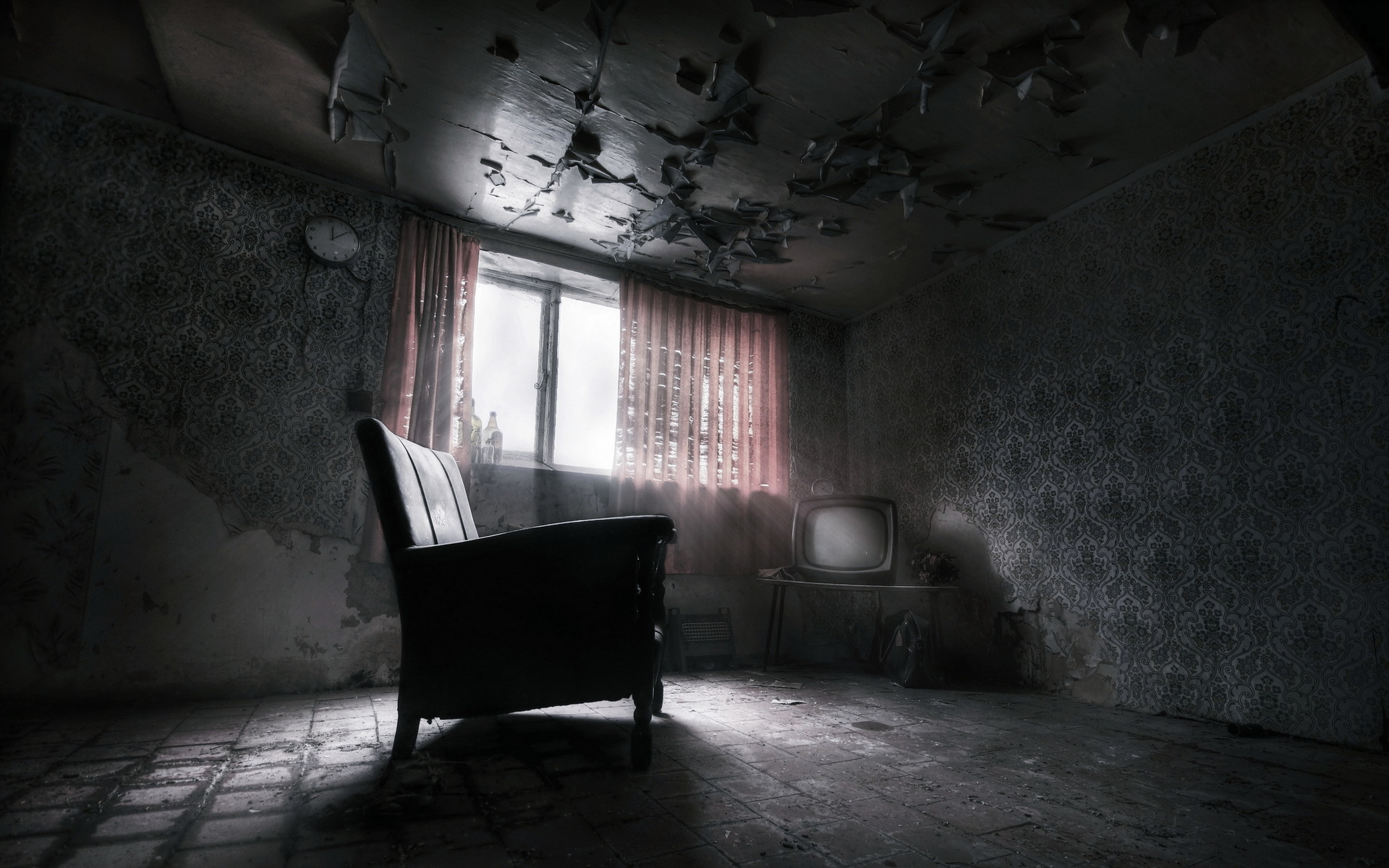 Room Furniture Interior Dark Ruins Wallpaper