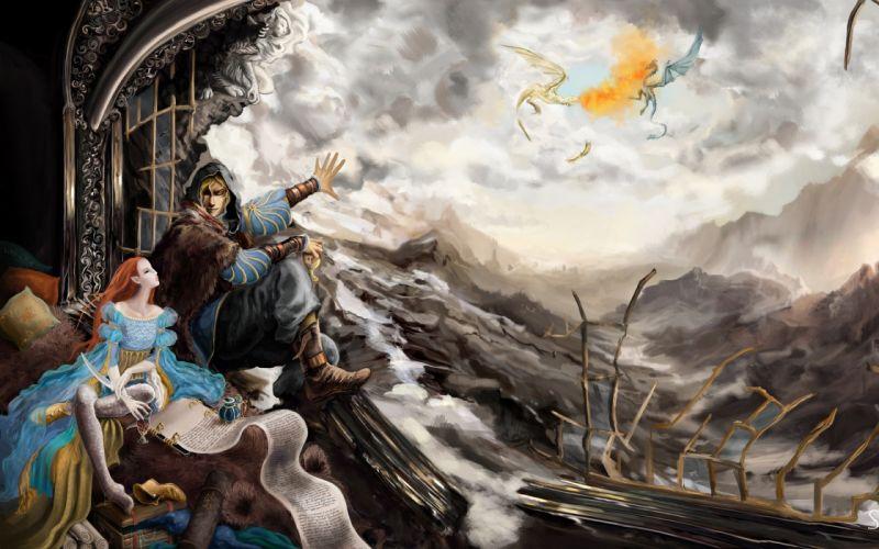 The Elder Scrolls V Skyrim fantasy dragon wallpaper