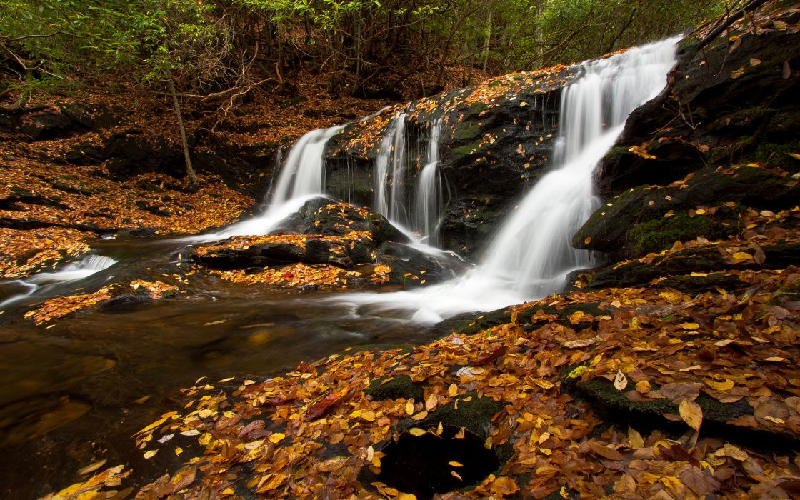 Waterfall Autumn Rock Stone Stream wallpaper