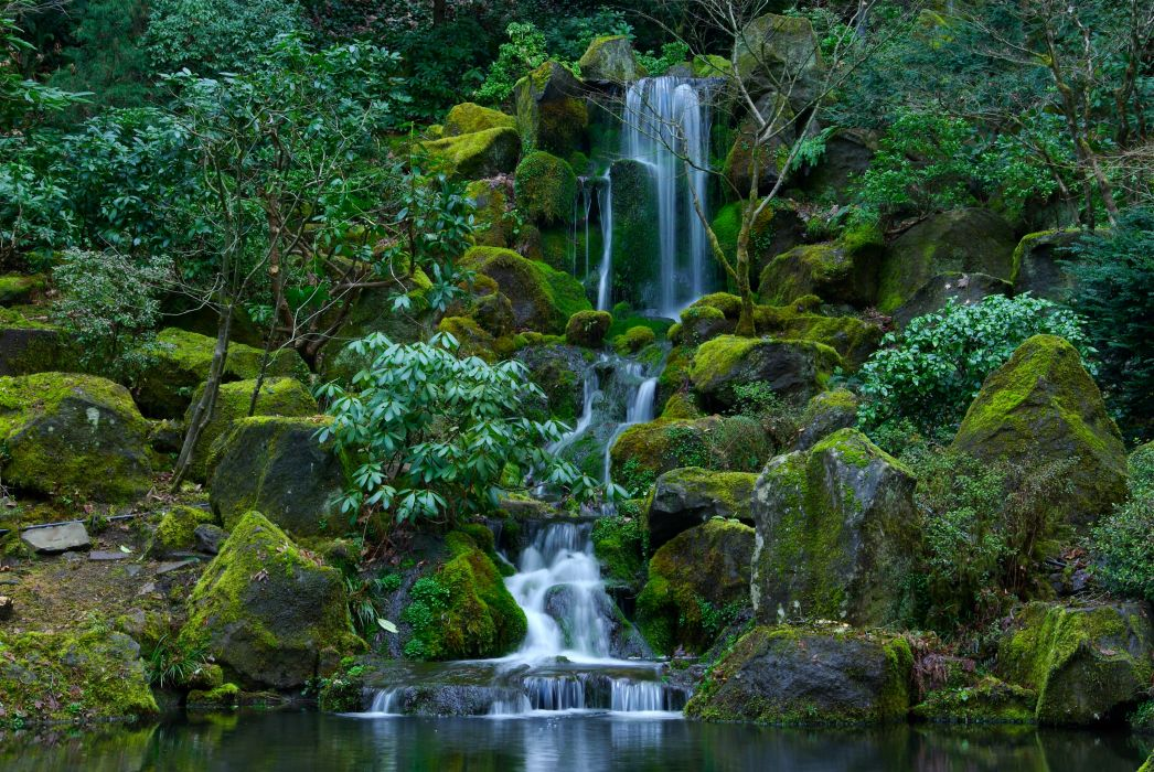 Waterfalls USA Gardens Stones Portland Japanese Oregon Moss Nature wallpaper
