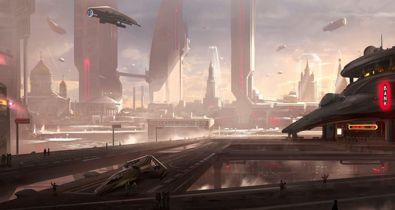 STAR CITIZEN sci-fi spaceship game city    y wallpaper