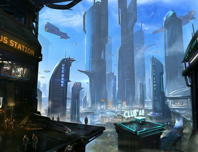 STAR CITIZEN sci-fi spaceship game city g wallpaper