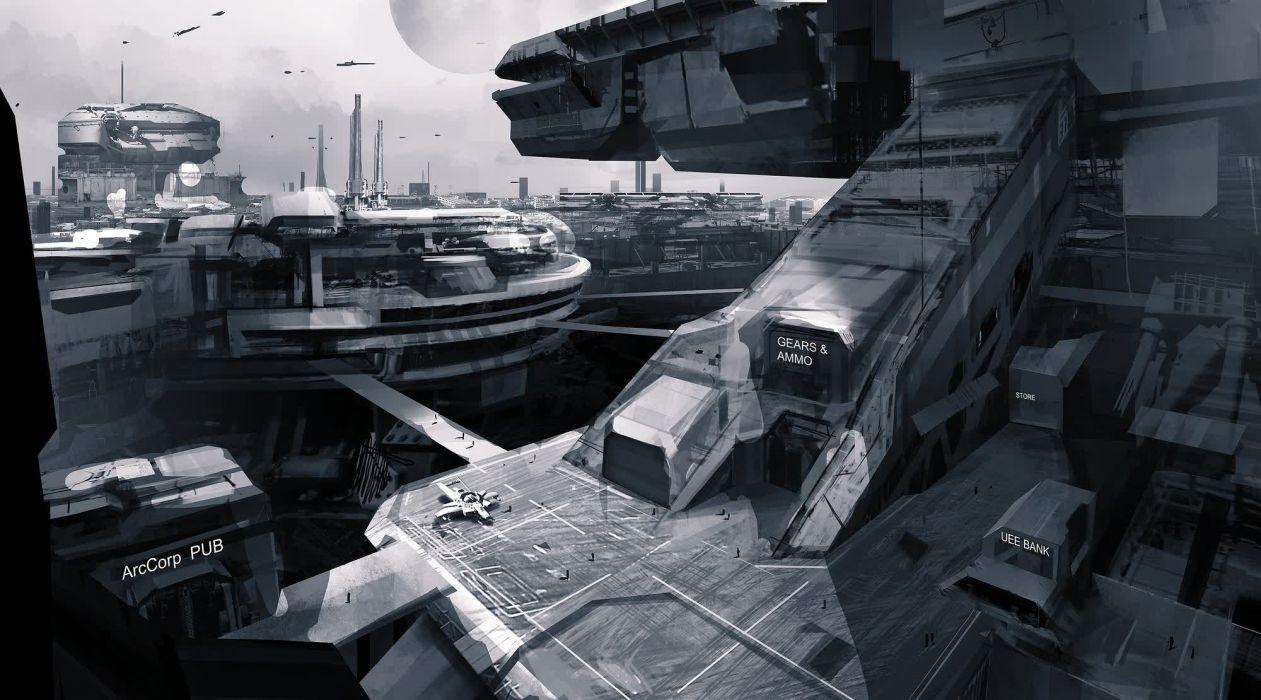 STAR CITIZEN sci-fi spaceship game city   gr wallpaper