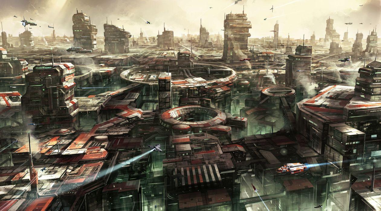 STAR CITIZEN sci-fi spaceship game city f wallpaper
