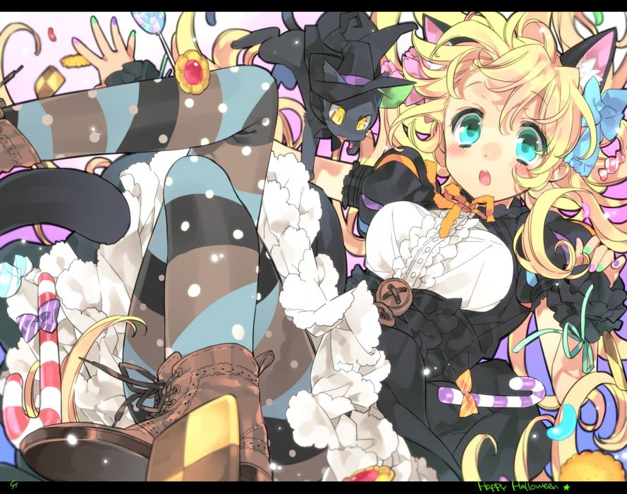 original animal animal ears aqua eyes blonde hair blush boots candy cat dress halloween original pantyhose ribbons toujou sakana witch hat wallpaper