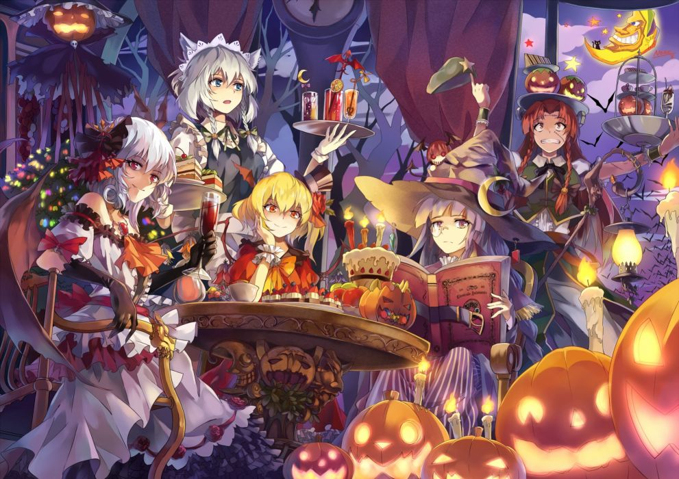 touhou book braids cake dress drink fang gloves group hat headdress koakuma maid pumpkin red eyes red hair scar staff touhou vampire wings witch hat wallpaper