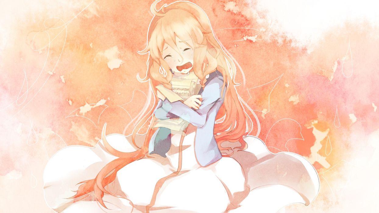 vocaloid blonde hair chikiko (rainstops) crying dress ia long hair tears vocaloid wallpaper