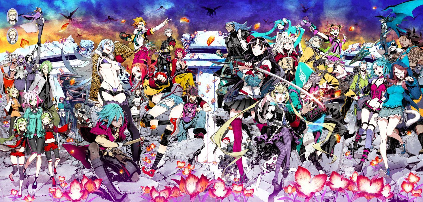 7th dragon group hatsune miku miwa shirow pointed ears skirt sword tagme thighhighs weapon wallpaper