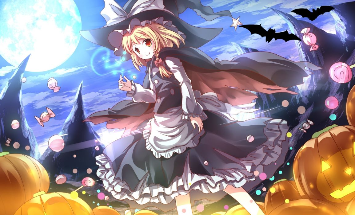 touhou animal bat blonde hair braids candy cape clouds dress halloween kirisame marisa moon night orange eyes pumpkin ribbons risutaru sky touhou witch hat wallpaper