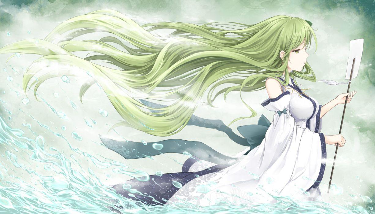 touhou green eyes green hair japanese clothes kochiya sanae long hair miko touhou water wallpaper
