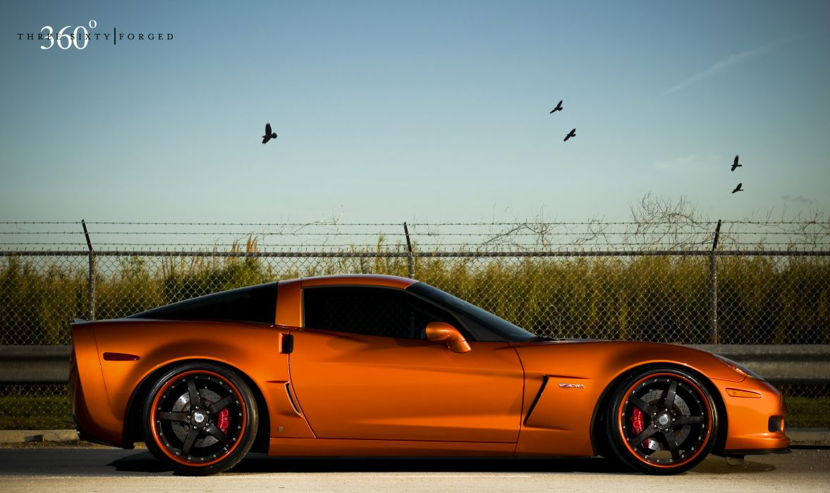 Atomic Orange Corvette Z06 on 360 Forged CF Straight wallpaper
