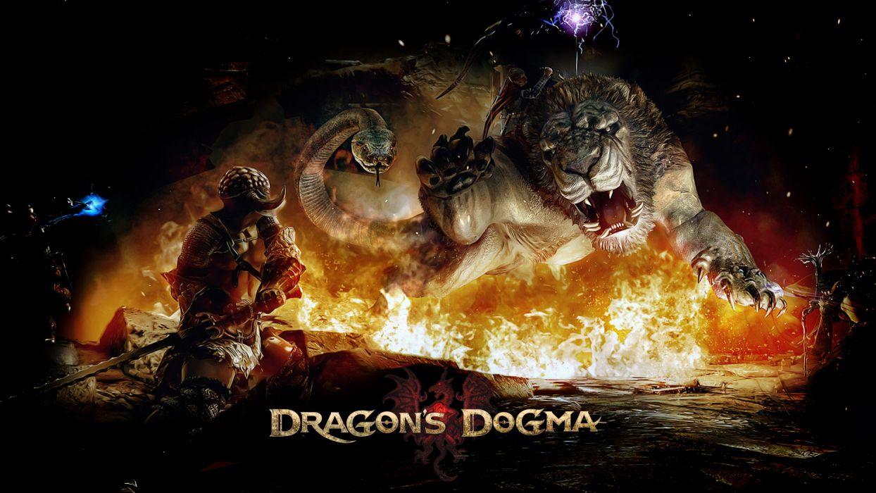 DRAGONS DOGMA fantasy game warrior monster lion       r wallpaper