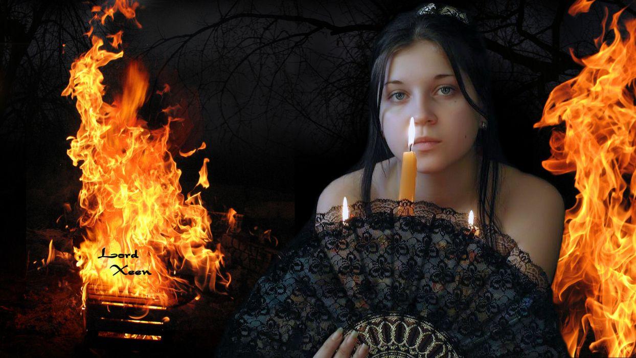 GOTHIC goth style goth-loli women girl dark fire    g wallpaper