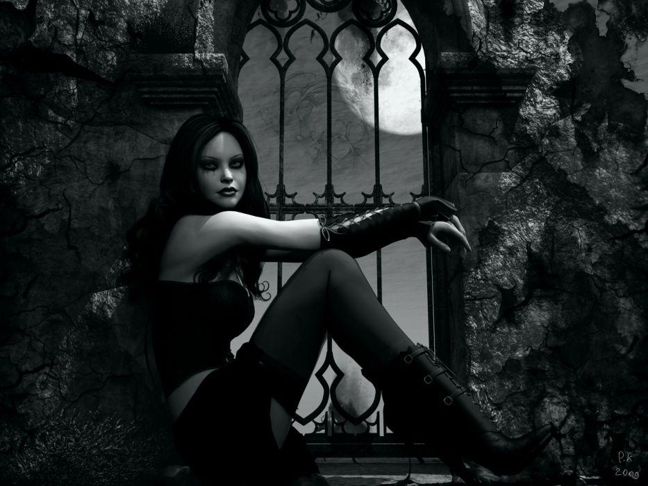 GOTHIC goth style goth-loli women girl dark vampire   e wallpaper