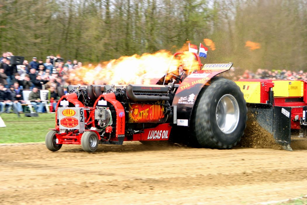 Tractor Pulling Race Racing Hot Rod Rods Tractor Fire F